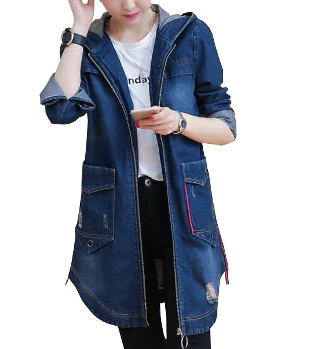 HomeToy Women's long zipper denim jacket long-sleeved hooded Windbreaker coat