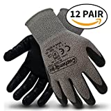 CustomGrips Cut Resistant Work Gloves. Span-Nylon Liner, Level 4 Abrasion Resistance, Nitrile Foam Palm Coated for Utility Grade. Superior Grip Power on Oily & Wet Environment. [Large, 12 Pairs]