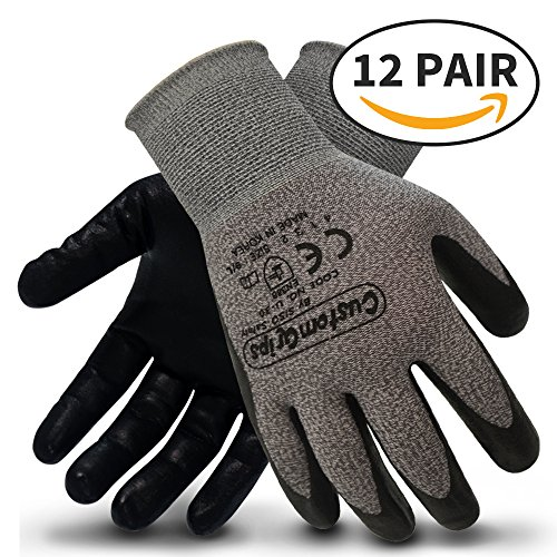 CustomGrips Cut Resistant Work Gloves. Span-Nylon Liner, Level 4 Abrasion Resistance, Nitrile Foam Palm Coated for Utility Grade. Superior Grip Power on Oily & Wet Environment. [Large, 12 Pairs] by CustomGrips