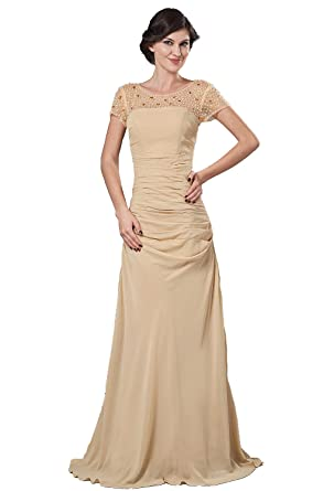 Sheath/Column Jewel Floor length Chiffon And Lace Prom Dresses(2)