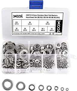 Flat Washers Stainless Steel Flat Washer Assortment Set (M2 M2.5 M3 M4 M5 M6 M8 M10) 8 Different Sizes for Home, Automotive and Shop Use, 380-Pack