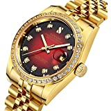Men's Luxury Automatic Mechanical Watch Gold Watch Business Stainless Calendar Window Water Resistant (Gold Red)
