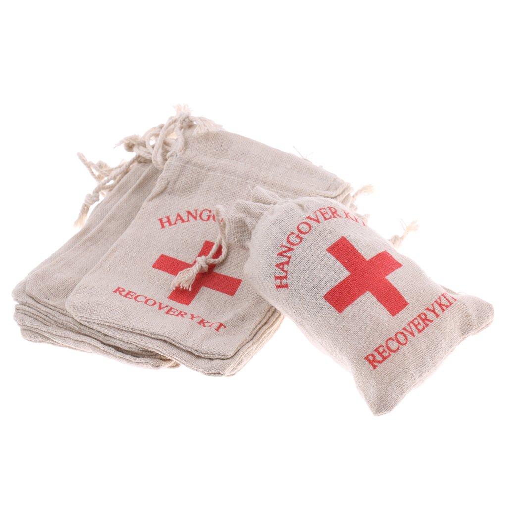 Blesiya 10 Piezas Hangover Kit Muselina Bolsas de Algodón para Favores de Fiesta de Soltería Resaca