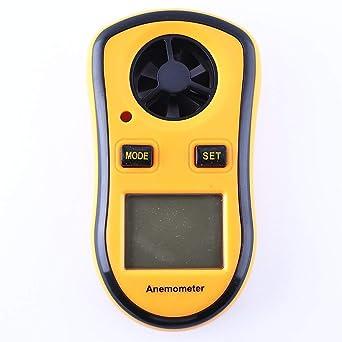 Anemómetro medidor de velocidad del viento - Indicador digital portátil Mini velocidad del viento, idioma