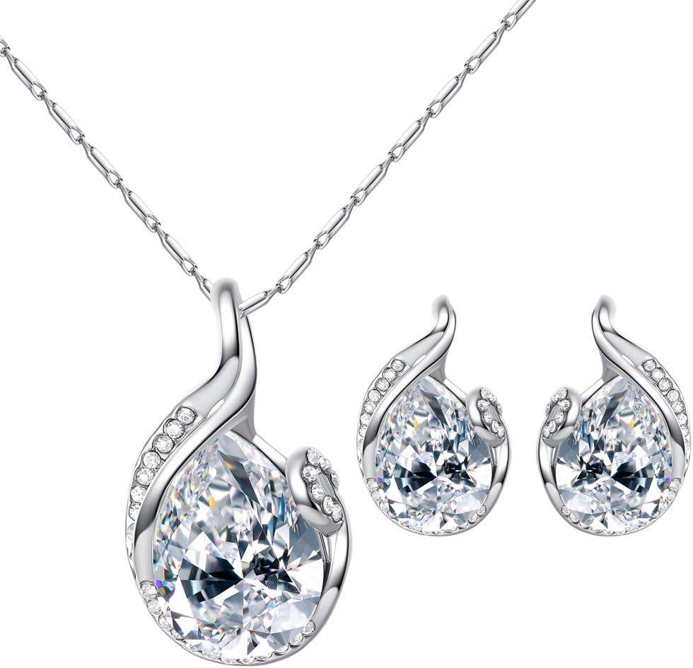 Blanc Fansi 2PCS//Parure Cristal autrichien beaut/é en Forme de Larme Diamant Ensemble de mari/ée en Alliage cha/îne Collier Boucles doreilles Ensemble Dames Bijoux