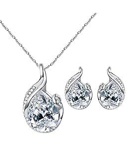 Beuya Conjunto Joyas Mujer Diseño Moda Colgantes de Cristal en Forma de Gota Collar Colgante para Conjunto de Joyas de Perlas para Mujer (Plateado)