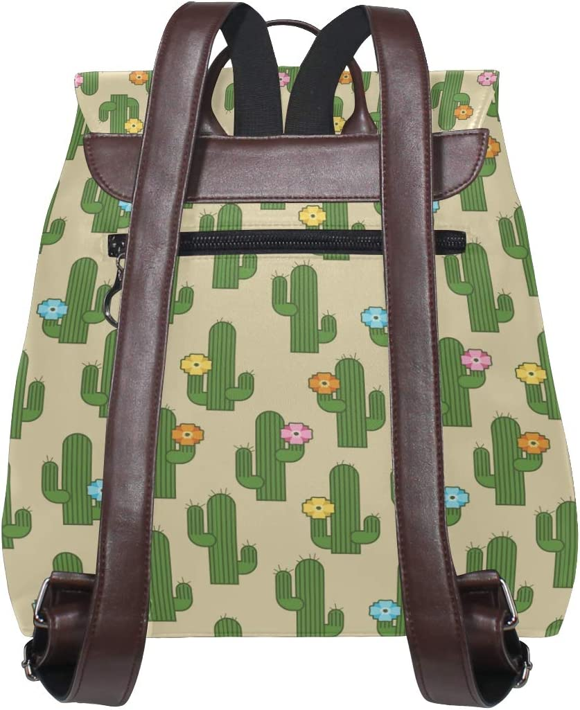 Leather Green Cactus And Flowers Backpack Daypack Bag Women