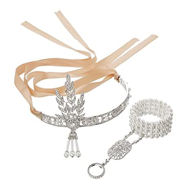 Bracelet Ring Set 1920s Vintage Bridal Gatsby Party Costume 20s Gold Headband
