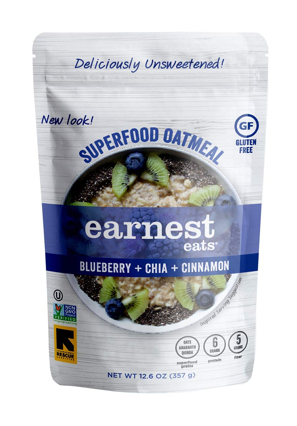Earnest Eats Superfood Hot Cereal with Quinoa, Oats & Amaranth, Vegan, Gluten Free, Blueberry Chia Blend, 12.6oz Bag, Pack of 6
