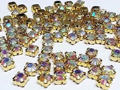 CraftbuddyUS100 X 6mm SS28 Ab Clear Sew on Gold Set Glass Crystal Diamante Rhinestones Craft