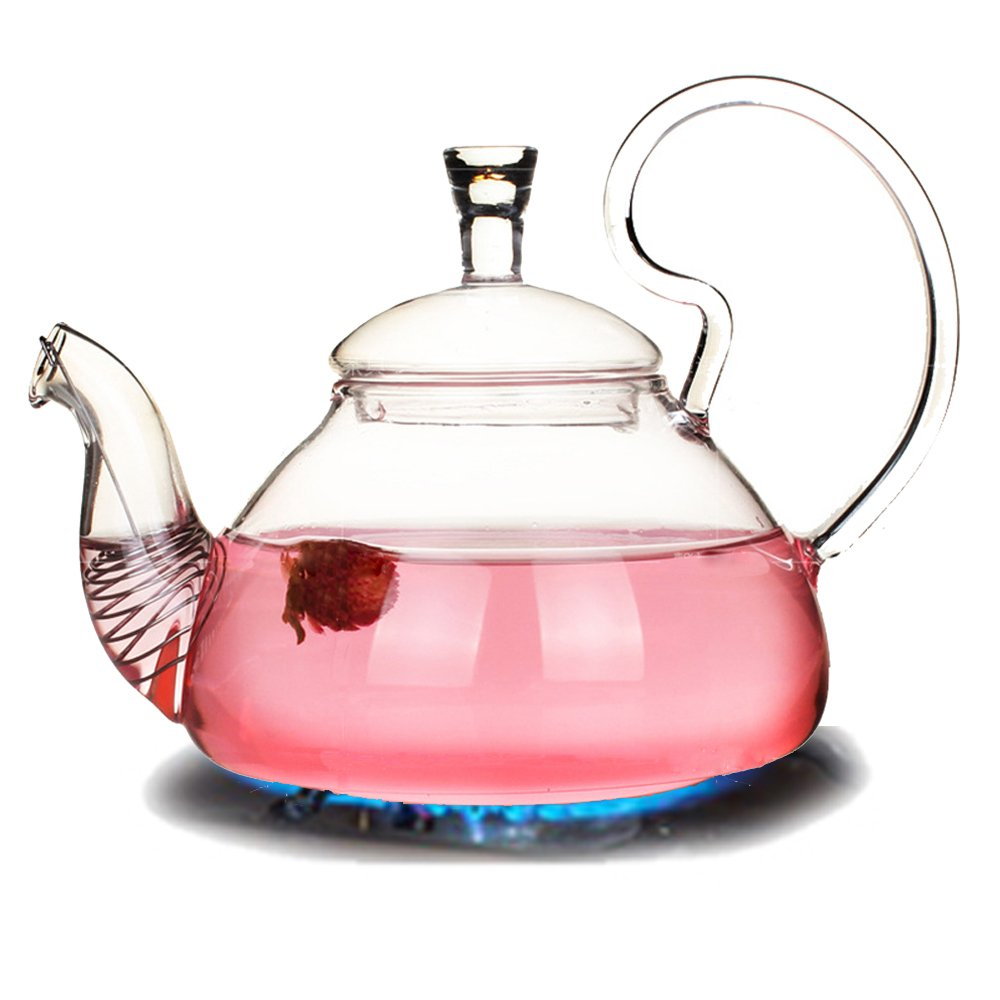 TAMUME 750ML Elegant Blooming Style Glass Teapot with Removable Stainless Steel Filter Coil Infuser with Non-Drip Spout Fuss-free Pouring for 2-3 Persons