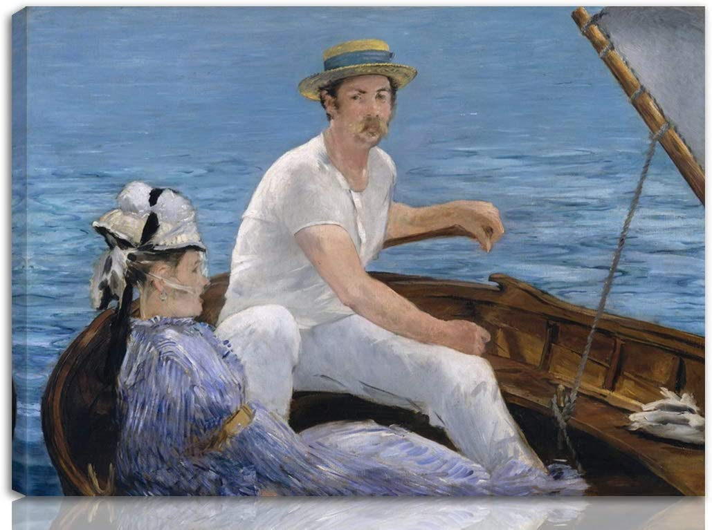 Berkin Arts Edouard Manet Stretched Giclee Print On Canvas-Famous Paintings Fine Art Poster-Reproduction Wall Decor Ready to Hang(Boating)#NK