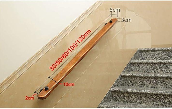 Pasamanos - contra el Muro Antideslizante de Madera de la Escalera barandilla de Hierro con 2 Soportes, hogar de Ancianos Loft Cubierta Pasamanos Pasamanos Corredor de Apoyo de Rod (Size : 120cm):