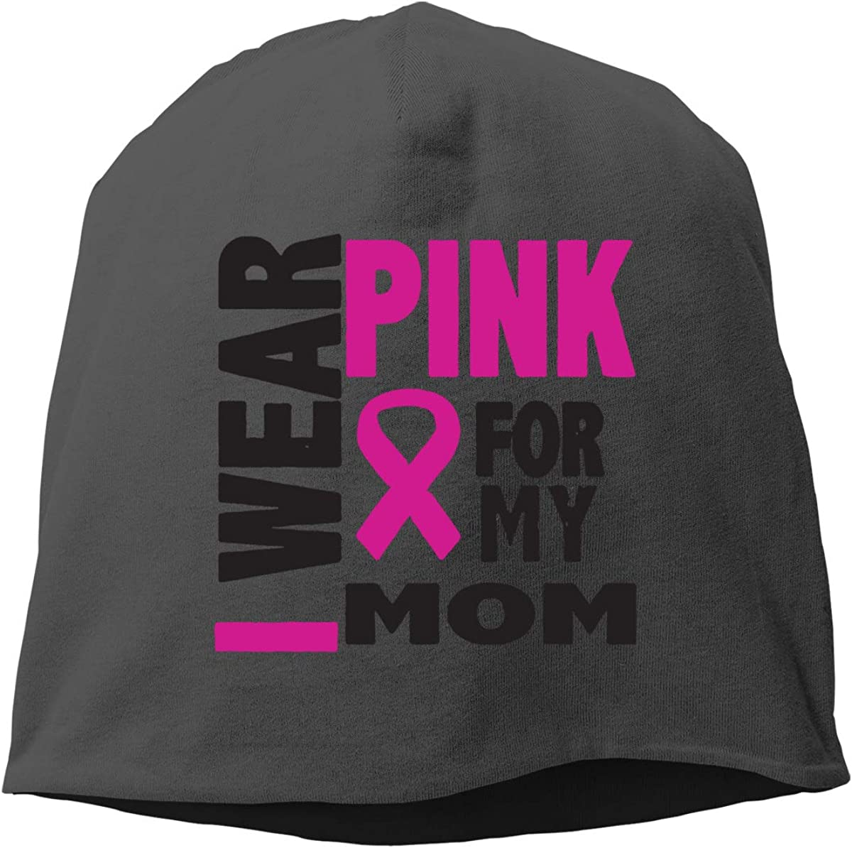 Breast Cancer Awareness Pink Ribbon for My Mom Skull Cap Helmet Liner Beanie Cap for Men Hip Hop Hedging Head Hat