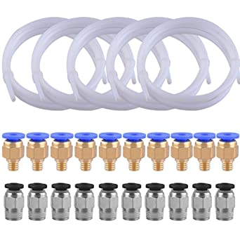 SIQUK 2 Piezas Tubo de teflón PTFE(1 metros) con 4 Piezas de ...