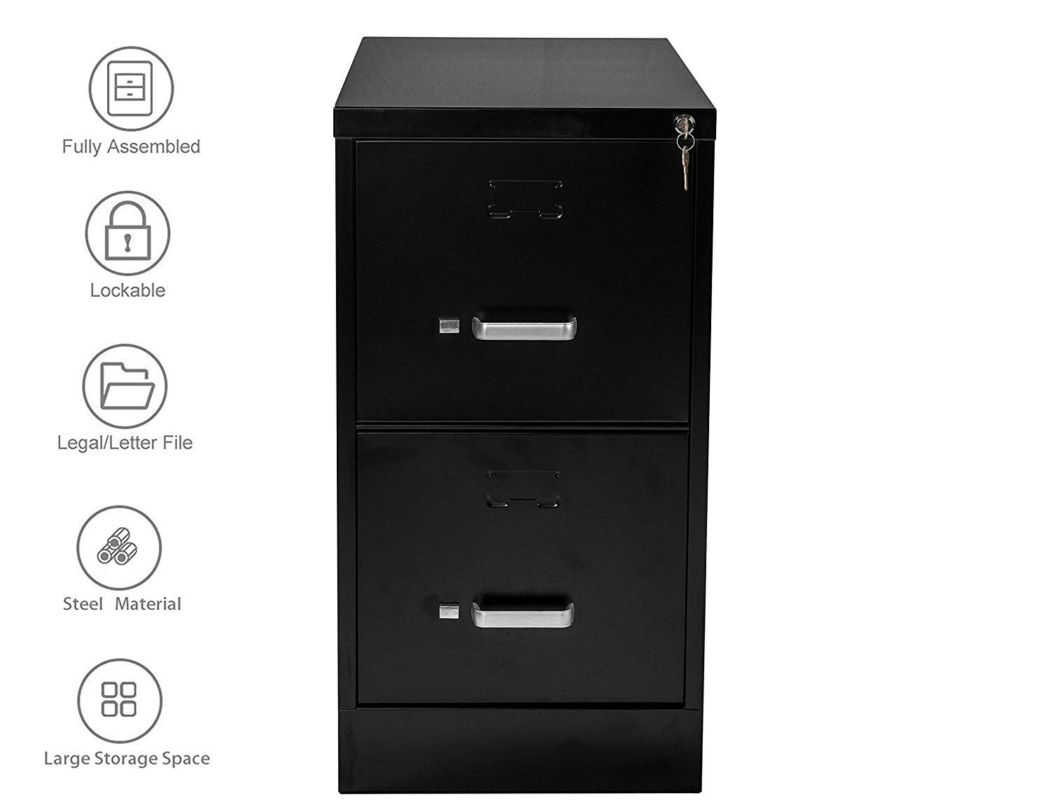 Henlus 2 Drawer Flie Cabinet with Lock Fully Assembled Metal Filing Cabinets for Home Office (Black, 2 Drawer)