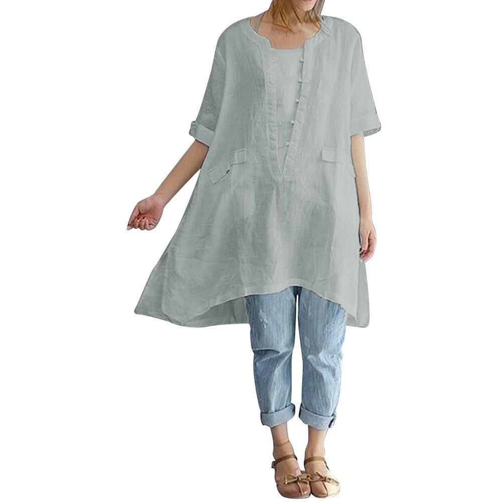 Quealent Women Shirts Plus Size Summer Loose Linen Short Sleeve Shirt Vintage Tunic Tops Blouse Gray