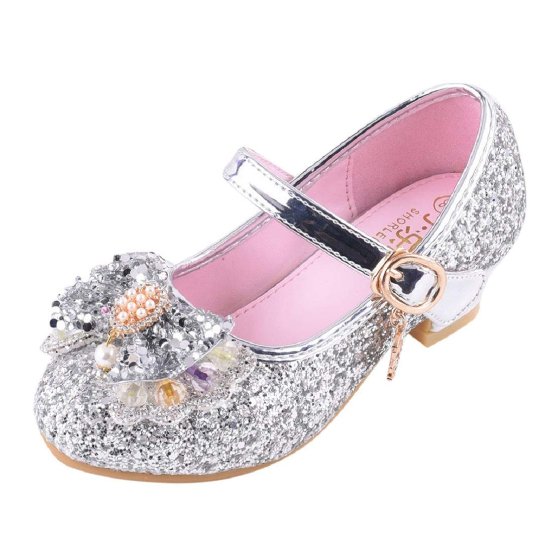 Toddler Kids Girl Mary Jane Flat Glitter BalletShoes Heeled Princess Shoes Wedding Party Dress Pumps (3.5-14Y) by Lowprofile Silver