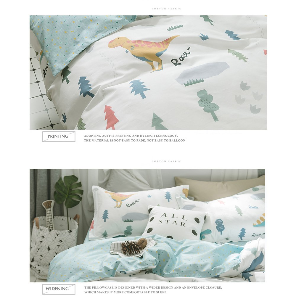 HIGHBUY Queen Kids Bedding Sets Full Cotton Dinosaur Animal Forest Print Duvet Cover Sets Queen Reversible Full Comforter Cover Blue Grids 3 Piece for Women Girls Boys Lightweight Soft Queen Bedding by HIGHBUY (Image #5)