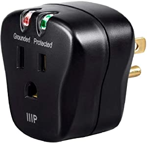 Monoprice 1 Outlet Portable Mini Power Surge Protector Wall Tap - Black | UL Rated 540 Joules with Grounded and Protected Light Indicator