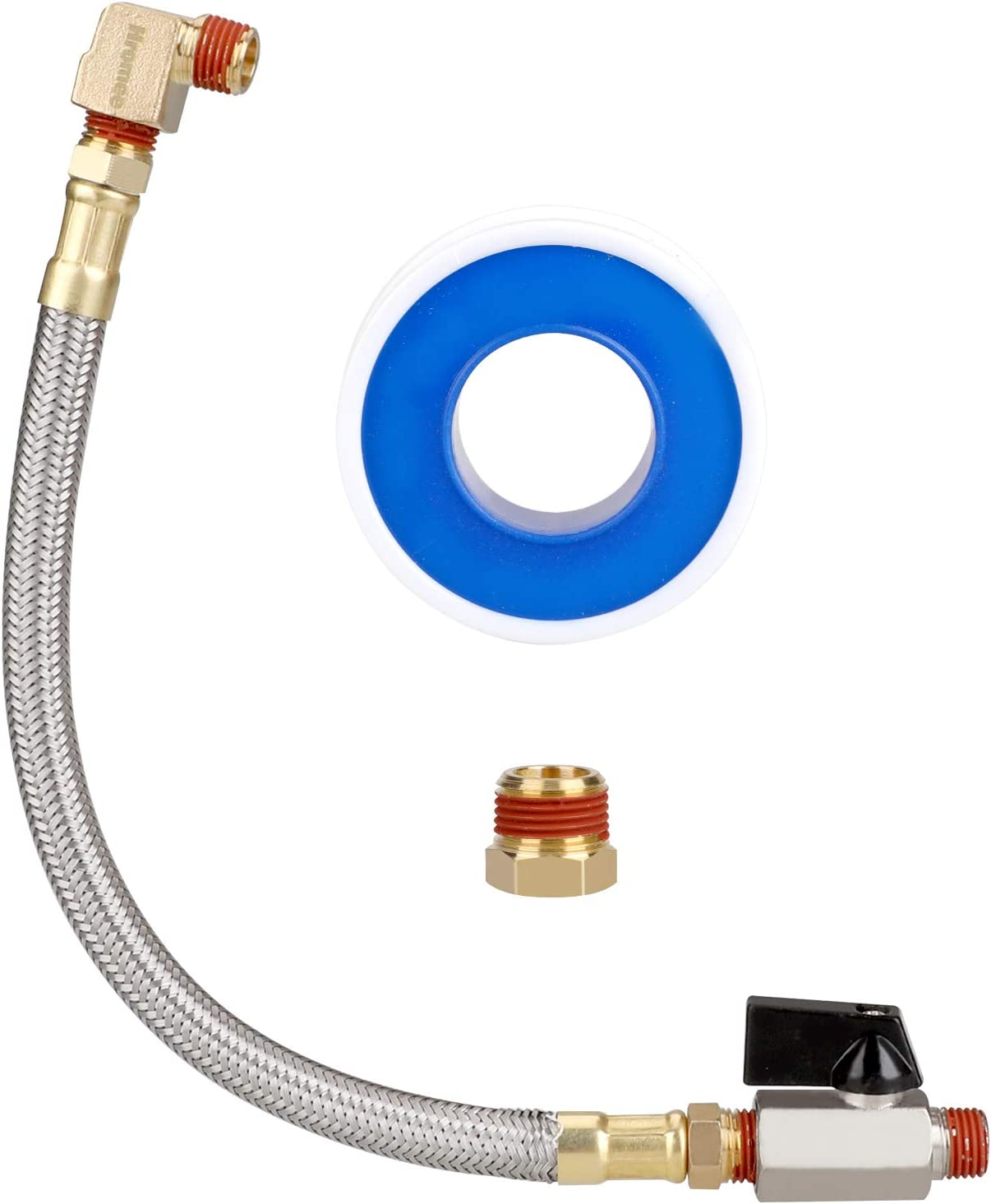 Hromee Extended Tank Drain Valve Assembly Kit with 10 Inch Flexible Braided Steel Tube 1//4 Inch NPT Shut-Off Ball Valve 90 Degree Brass Elbow Pipe Fitting and Thread Seal Tape for Air Compressor