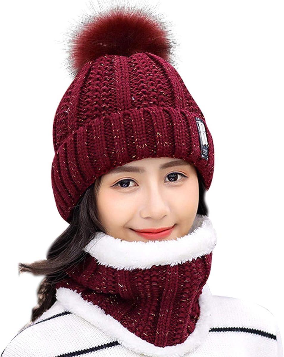 Set di berretto invernale e sciarpa a cerchio da donna HIDARLING per sport allaria aperta con pompon e fodera in pile caldo cappello lavorato a maglia