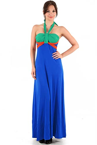 Blossoms Blue/Green/Orange Colour Block Maxi Halterneck Summer Dress Size 8-10-12-14 - Uk Size 8/10 - Blue/Orange/Green - 50ins from underarm to hem: ...