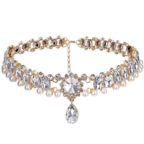 25c170be321c1 Amazon.com: CrazyPiercing Fashion Womens Pearl Collar Crystal ...