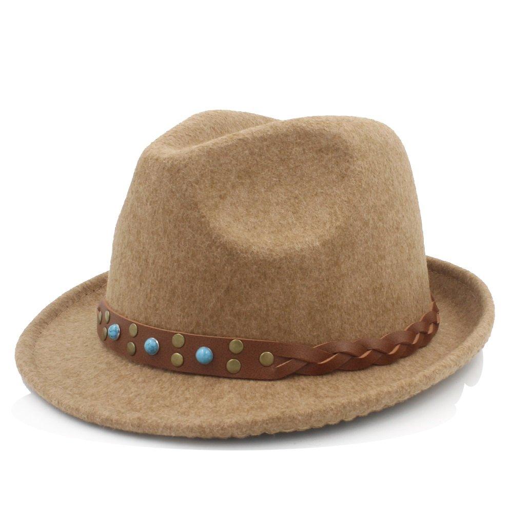 Khaki ZLQ Women Men Chapeau Femme Fedora Hat For Gentleman Sombrero Trilby Church Derby Cloche Top Cap With Fashion Leather Top Hat