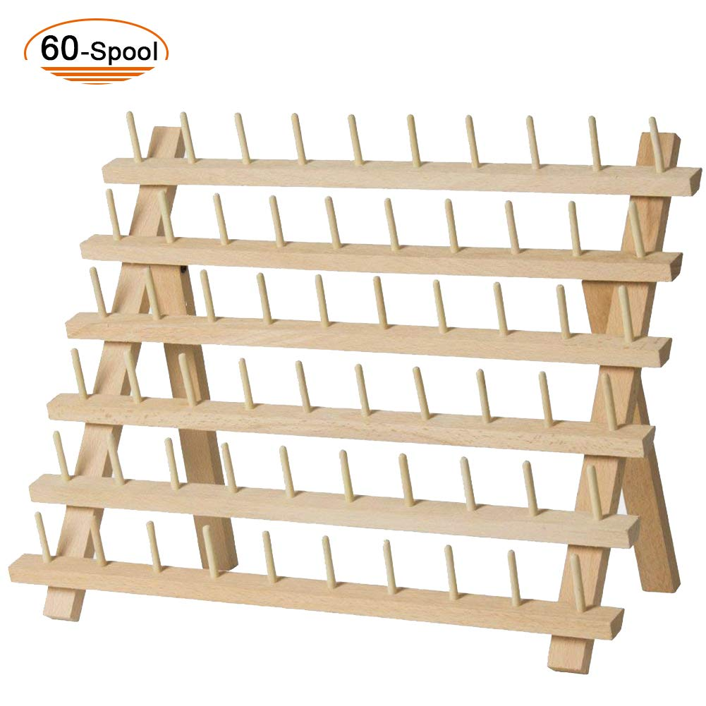 SAND MINE Wooden Thread Rack Sewing and Embroidery Thread Holder (60 Spool) by SAND MINE
