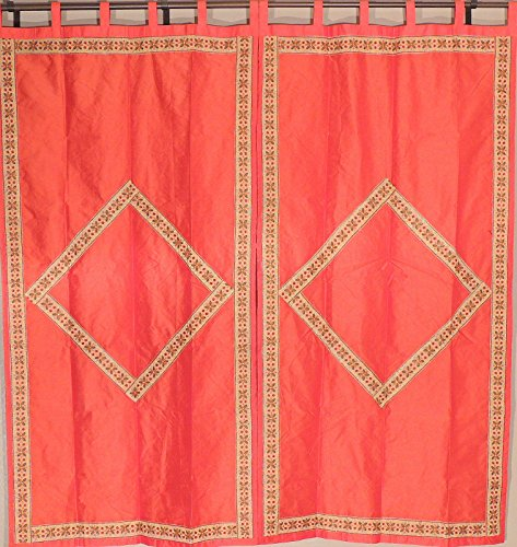 Trendy Princeton Orange Embroidered Curtains - 2 Floral Border and Diamond Pattern Fancy Dupioni Art Silk Indian Window Dressing Panels ~ 82 Inch x 45 ()
