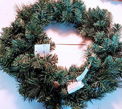 (Holiday Time 24 inch Pre-lit Deluxe Scottsdale Green assorted Pines Wreath with 50 clear indoor/outdoor lights Red Velvet Bow included)