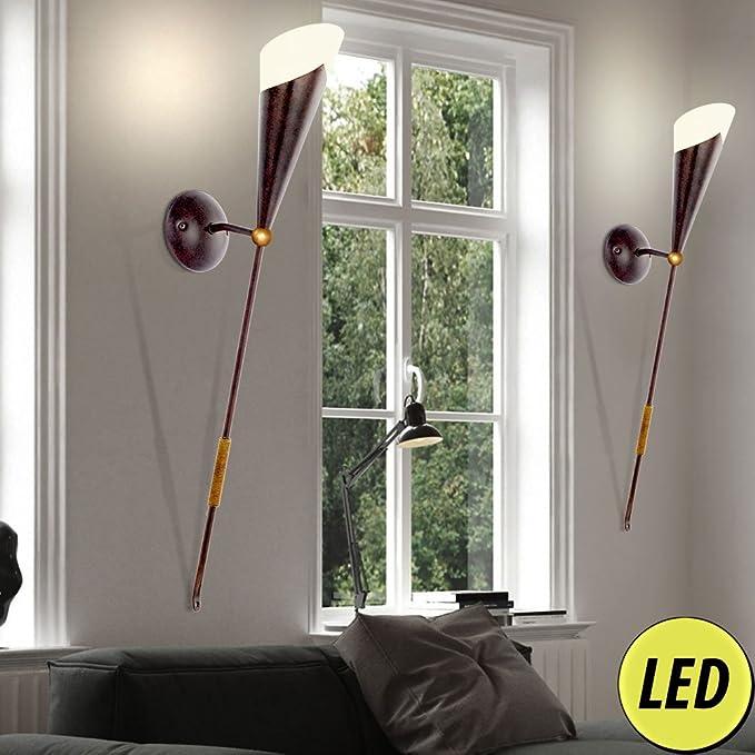 Wand Fackel Strahler Schlaf Zimmer Landhaus Stil Glas Beleuchtung satiniert