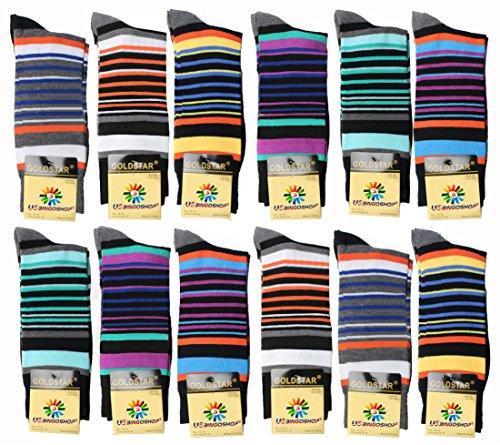 USBingoshopTM Mens Cotton Dress Socks (10-13, Striped-1) 12 Pack ()
