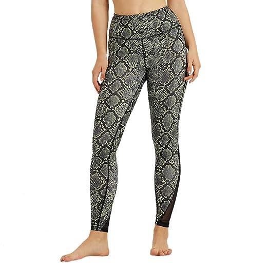 8f5c6262 Amazon.com: Pants for Women, High Waist Yoga Pants Snake Print Mesh Panel  Side Stretch Sports Workout Leggings: Clothing