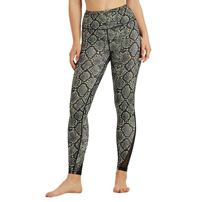 Yoga Pantalones Atléticos,Estampado de Serpiente Malla ...