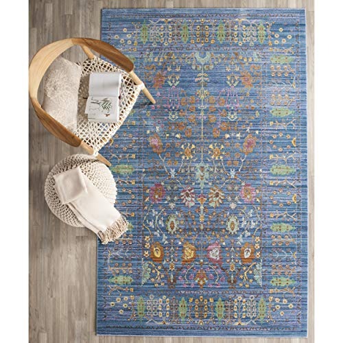 Safavieh Valencia Collection VAL108M Blue and Multi Vintage Distressed Silky Polyester Area Rug (4' x 6')
