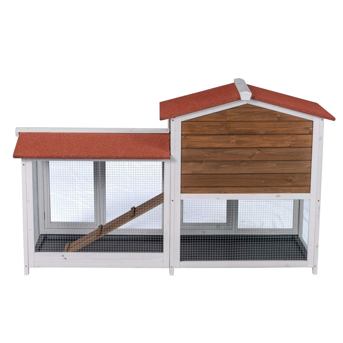 Good Life Two Floors Wooden Outdoor Indoor Roof Waterproof Bunny Hutch Rabbit Cage Guinea Pig Coop PET House for Small to Middle Animals with Stairs and 3 Cleaning Tray by GOOD LIFE USA (Image #7)