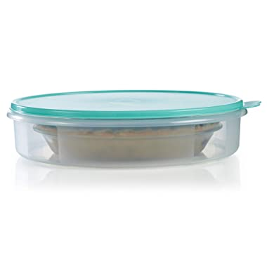 Tupperware Round Pie or Cupcake Keeper, 12-Inch, Sheer with Mint Seal