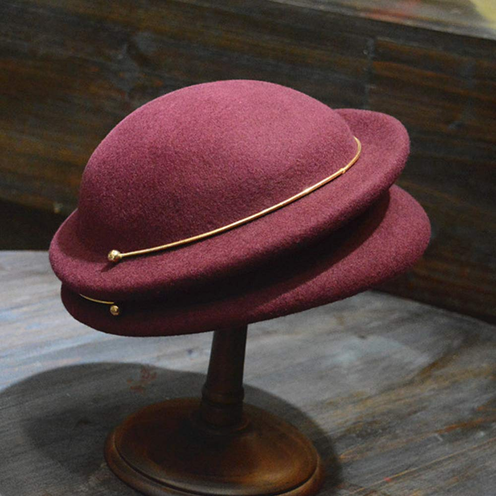 FADVES Wool Hat Autumn Winter Beret Metal Ring Cloche Felt Vintage Church Caps Wine Red by FADVES (Image #4)
