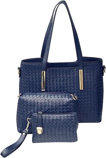 41dc5ef0b0 Jocestyle 3 Pcs Women Ladies Bag Set Fashion Casual PU Leather Handbag Tote  Bag Clutch Bag (Blue)  Handbags  Amazon.com