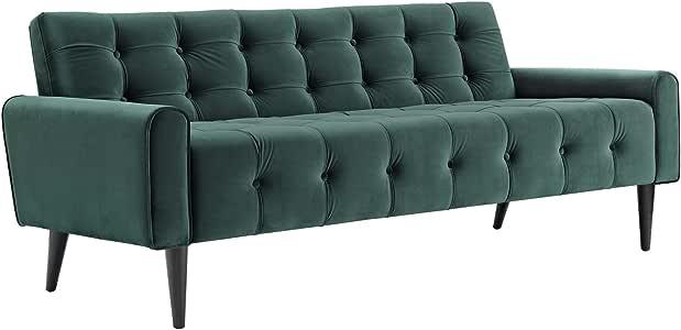 Modway Delve Luxury Button Tufted Upholstered Velvet Sofa In Green