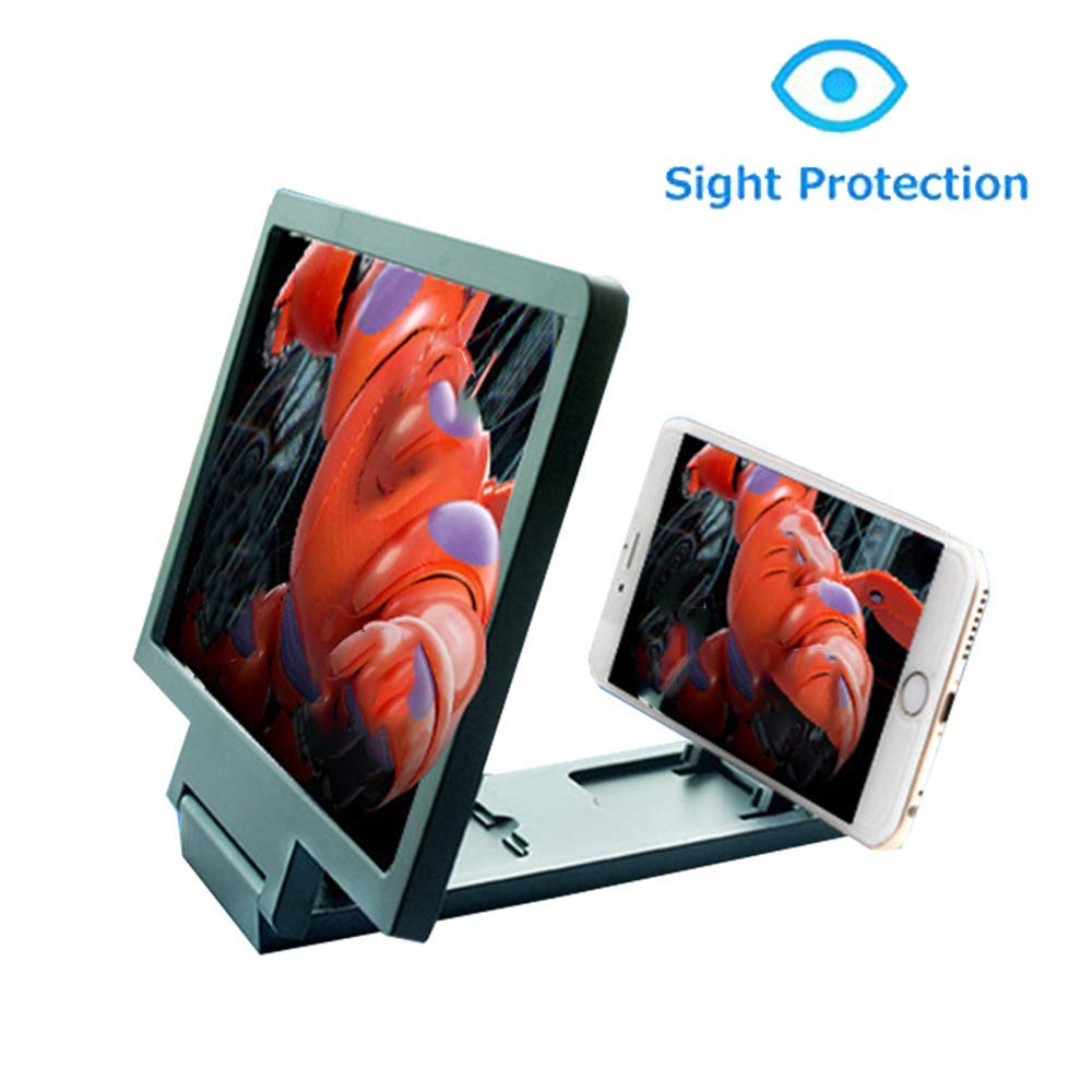 ZYG.GG 8'' Foldable Bracket Screen Magnifier Amplifier Enlarger Magnifier Zooms 2-4Times with Adjustable Angle & Distance, Movie Amplifier for All Smartphone