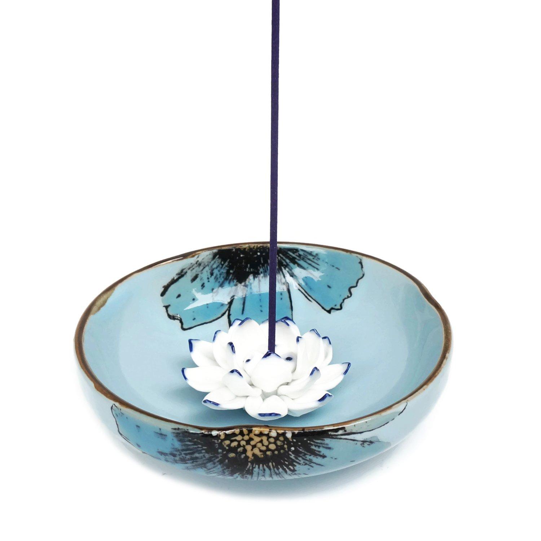 Incense Stick Burner Holder - Porcelain Decorative Flower Incense Burner Bowl - Ceramic Incense Ash Catcher Tray