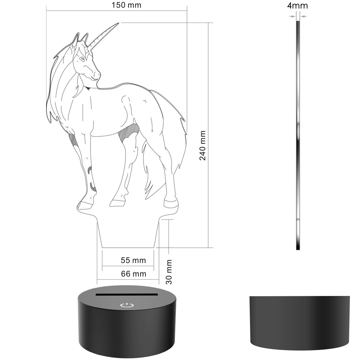 Novelty Unicorn 3D Illusion Lamp Led Night Light with 7 Colors Flashing & Touch Switch USB Powered Bedroom Desk Lamp for Kids Gifts Home Decoration by Atglus (Image #2)
