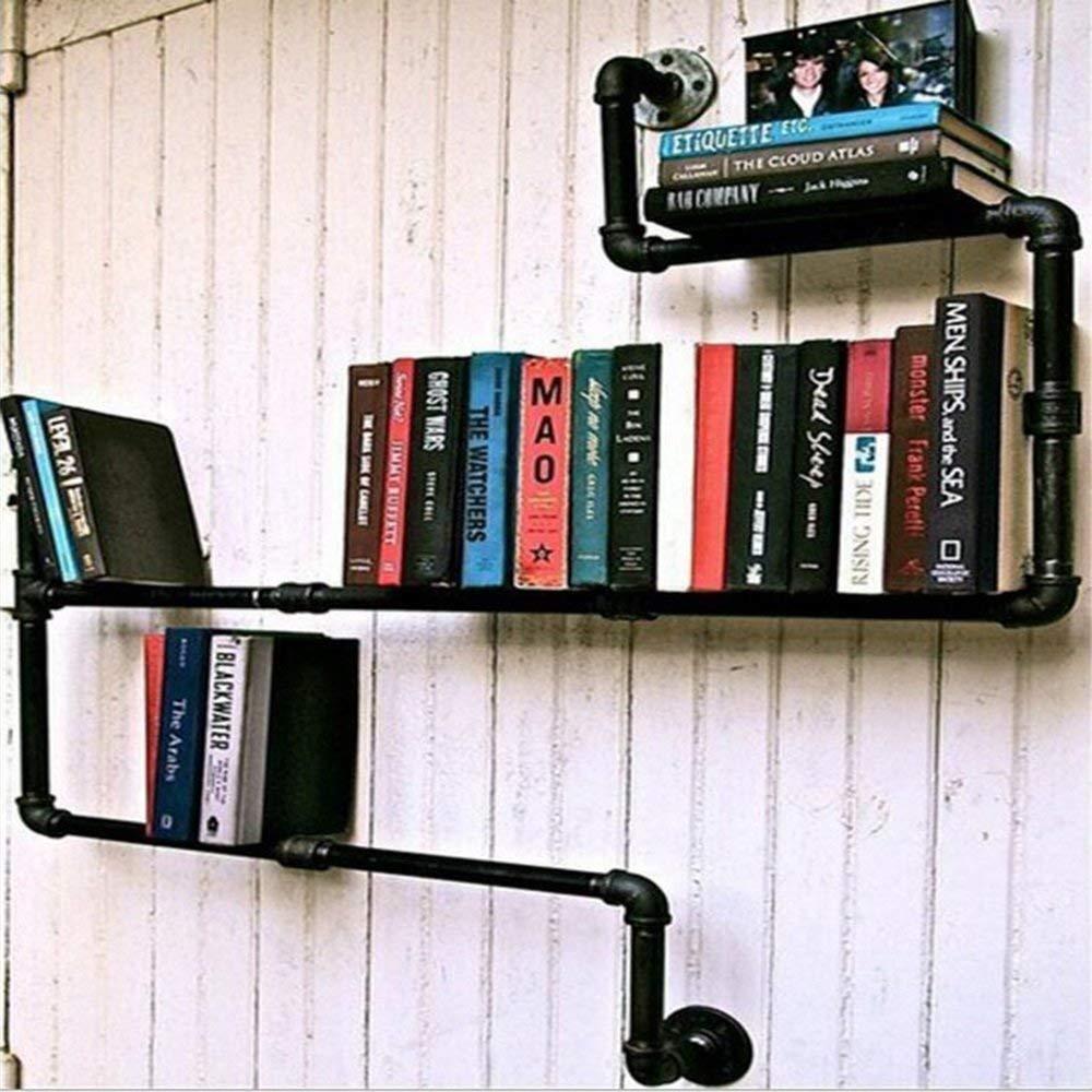 YUEQISONG Vintage Bookshelf Industrial Water Pipe Iron Bookshelf Simple Bookshelf Display Stand W120CmH90CmD13Cm