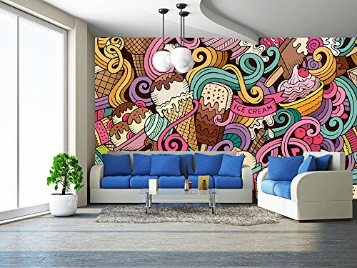 Hand Drawn Doodle (wall26 - Cartoon Hand-Drawn Ice Cream Doodles Seamless Pattern - Removable Wall Mural | Self-adhesive Large Wallpaper - 100x144 inches)
