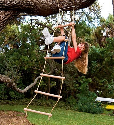 Sturdy Indoor/Outdoor Rope Ladder, Maple-wood Natural Wood 6'L