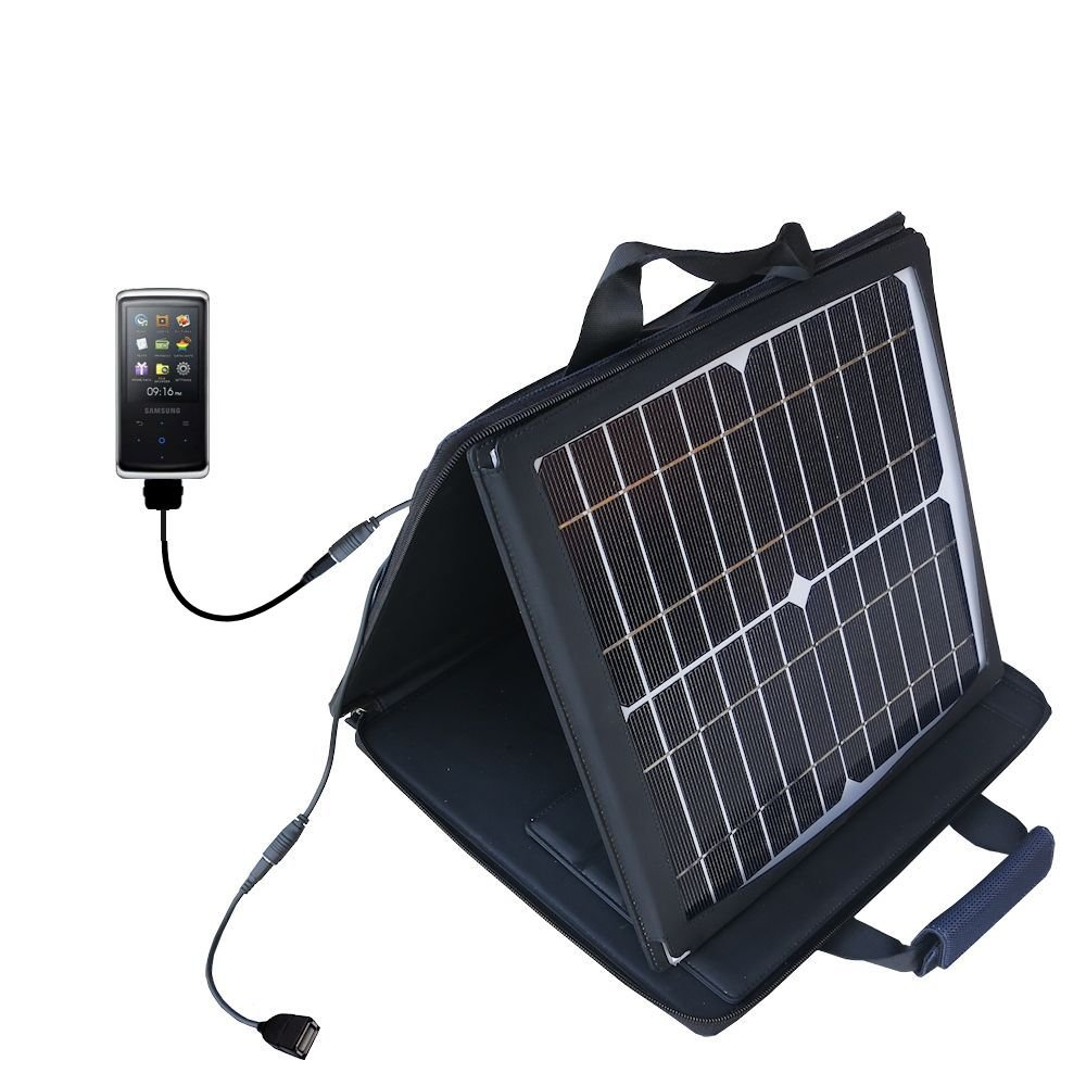 Gomadic SunVolt High Output Portable Solar Power Station designed for the Samsung YP-Q2 Digital Media Player - Can charge multiple devices with outlet speeds by Gomadic