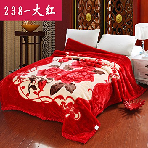 Double thick Soft fleece blanket blanket encryption is not hair does not play ball blanket thick autumn and winter double bunk ,180x220cm (6 pounds) Double thick ,238- big red by Znzbzt
